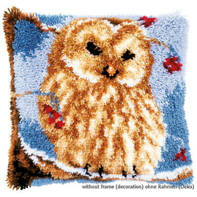 Vervaco Latch hook kit cushion Owl, stamped, DIY