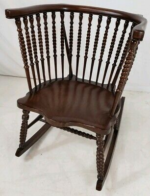 Antique Victorian Dark Oak High Barrel Back Rocking Chair with Turned Spindles