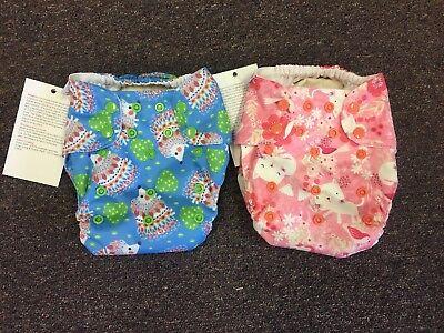 2 Blueberry Simplex Organic One Size Cloth Diapers/Inserts Kittens Hedgehogs NEW