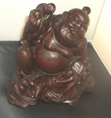 Asian Brown Box wood Carved Buddha-Babies Figurine glass eyes antique