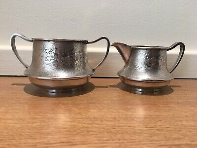 Antique Chinese Export Silver Sugar And Cream Bowls With Dragon Engraving