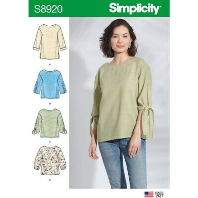 Simplicity Sewing Pattern 8920 Misses 16-24 Loose Pullover Tops Tunics Shirts