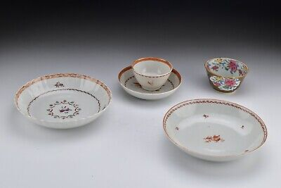 Chinese Porcelain Handless Cups and Saucers w/ Cafe Au Lait 18th Century