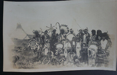 ORIGINAL  EARLY 1890's  PHOTOGRAPH of  SIOUX INDIAN TRIBE