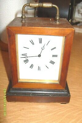 Carriage Clock Working Brevete  Balance  Movement Wooden Case Double Ended Key