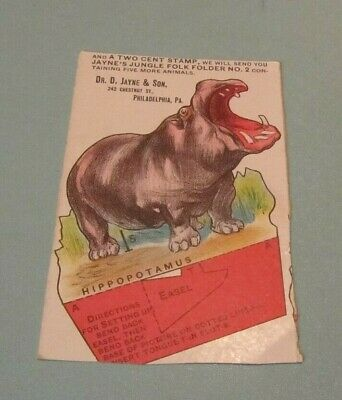 Vintage Dr. Jayne's Tonic Vermifuge Jungle Animal Hippopotamus Advertising Card