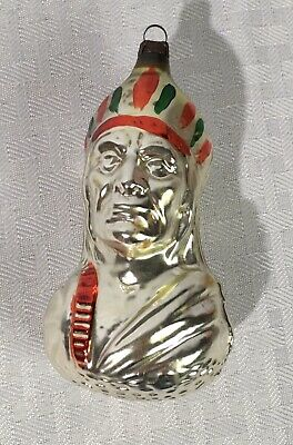 German Antique Glass Indian Chief Figural Victorian Christmas Ornament 1900's