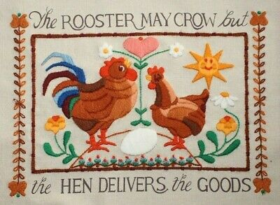 """Sunset """"The Hen Delivers"""" Rooster #2723 Crewel Embroidery Completed Finished"""
