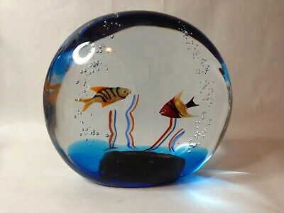 Murano Italian Art Glass  2 Fish Large Aquarium Paperweight Sculpture marked