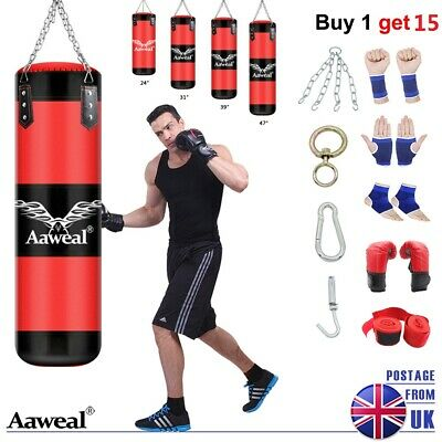 2-3-4 FT Heavy Punch Bag Buyer Build Set,Chains,Gloves,Boxing Bag Trianing MMA