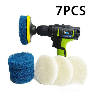 7Pcs Drill Brush Scrub Pads Power Scrubber Cleaning Kit Cleaner Elements Useful
