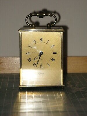 antique 8 day small size swiss carriage clock with alarm