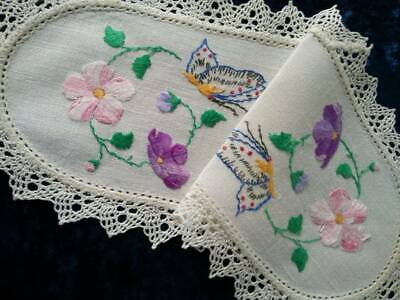 Gorgeous Butterflies & Flowers  Vintage Hand embroidered Sandwich Doily