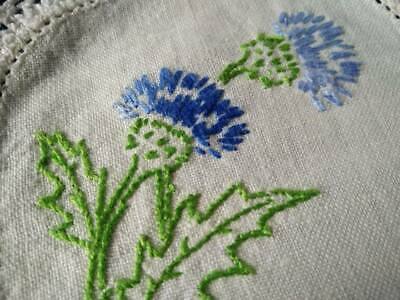 Stunning Scottish Thistles  Vintage Hand embroidered Sandwich Doily