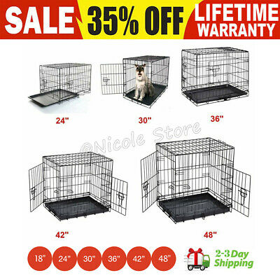 Small Medium Large XL Pet Dog Cage Cat Crate Foldable Carry Transport Carrier