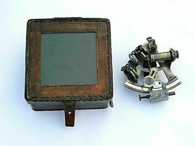 Brass Antique Nautical Sextant with Leather Box Marine Working Sextant sOLID