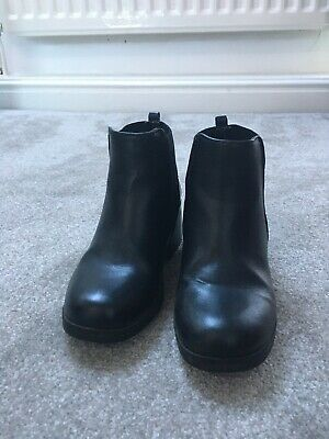 Girls black leather ankle boots size 13