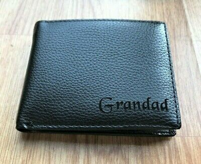 Mens Black PU Leather Wallet Gift With the word Grandad Engraved on the front