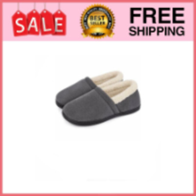 Men's Comfy Fuzzy Knit Cotton Memory Foam House Shoes Slippers 11-12 Grey