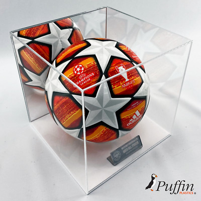 Perspex Football Display Case - WHITE BASE -Mirrored Backing (WITH FREE PLAQUE)