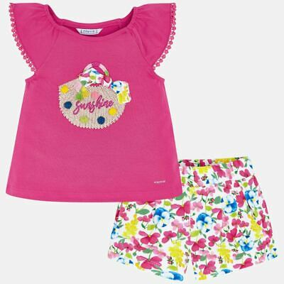 Mayoral Girls Sunshine Printed T Shirt & Short set (3293) Aged 2-8 Yrs