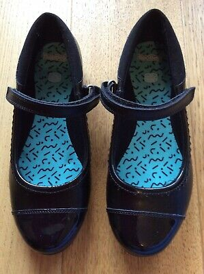 Clarks Girls School Shoes Black Leather Size 3H (Wide Fit) NEW