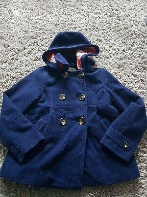 Mini Boden Navy Blue Diffel Atyle Coat Age 9-10  With Hoiod