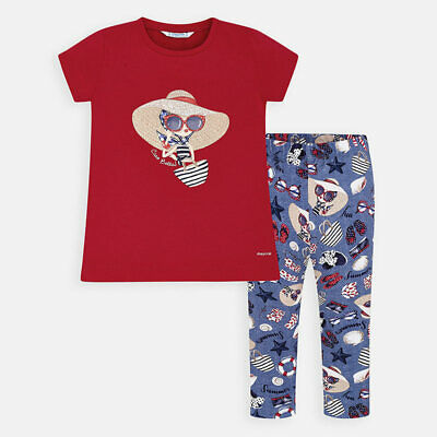 Mayoral Girls T-Shirt & leggings set in Doll Print Multi (3725  Aged 2-8 Yrs