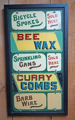 ANTIQUE COUNTRY HARDWARE STORE FRAMED ADVERTISING TIN SIGN SIGNS CA. 1930's