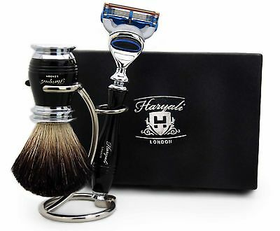 Pure Black Badger Hair Brush,5 Edge Shaving Razor & Brush Stand/Holder For Him.