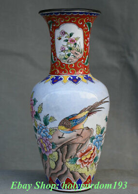"""9"""" Qianlong Marked Chinese Painting Copper Cloisonne Peony Flower Bird Vase"""