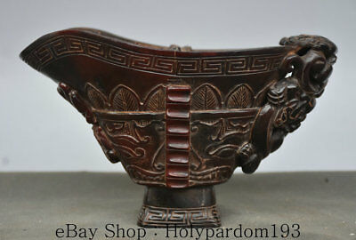 "7.2"" Marked Old Chinese Dynasty Ox Horn Hand Carved Beast Drinking Cup Horn Cup"