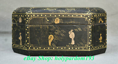 """11"""" Old China lacquerware Painted Dynasty Palace Civil Service Jewellery Box"""