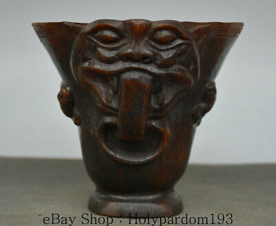 "5.2"" Marked Old China Ox Horn Oxhorn Hand Carved Pixiu Dragon Beast Drinking Cup"