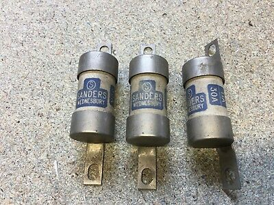 3 x Sanders Bolted Tag BS88 HRC Fuse 30 Amp