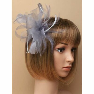 Silver grey looped net fascinator on a clear comb ideal wedding hair accessory