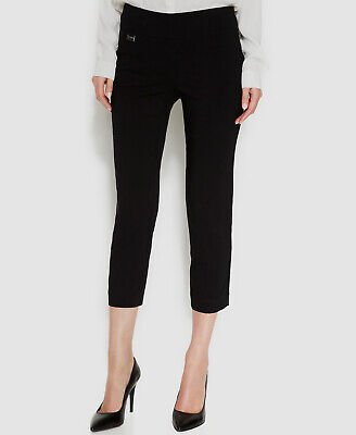 $295 Alfani Women's Black Stretch Curvy-Fit Pull-On Capri Skinny Cropped Pants 4
