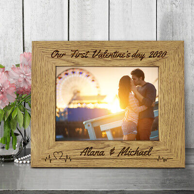 Personalised Engraved Wooden Photo Frame First Valentine's Day Customized  Gift