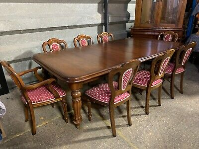 Stunning Simbeck antique Victorian style wind-out dining table with 8x chairs