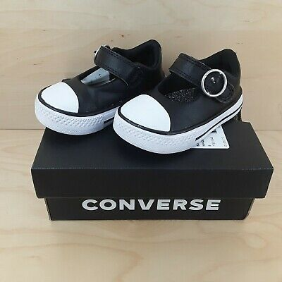 Converse Superplay Mary Jane Ox Black & White Girls Infant Size 5 In Box
