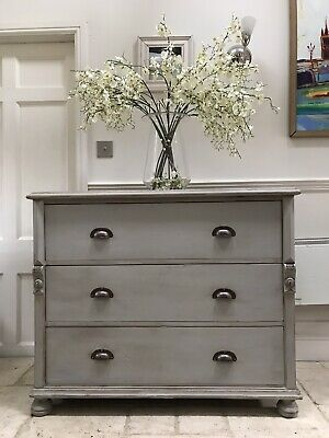 Large Victorian Antique Pine Grey Painted Gustavian Style Chest Of Drawers