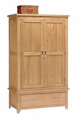Oak Two Door Double Wardrobe with Storage Drawer / Solid Wood / NEW / Oakland