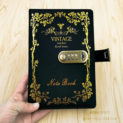A5 Leather Lined Journal Diary with Lock for Adult Vintage Cover Womens Notebook