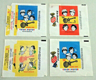 THE MONKEES Lot of 4 RARE 1966 & 1967 2 Vote 2 Gum WAX PACK GUM WRAPPERS
