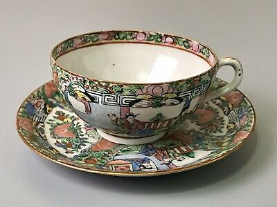 Vintage - Antique Rose Medallion Chinese Porcelain Tea Cup and Saucer