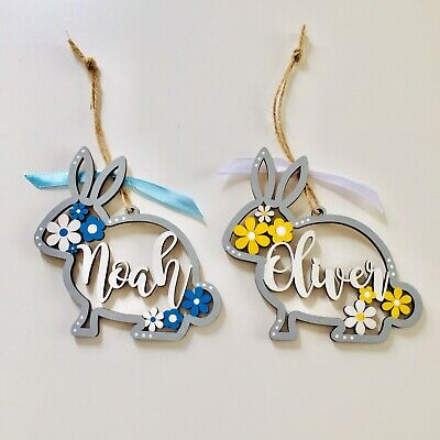 2x Easter Decorations | Two Personalised Wooden Hanging Easter Bunnies 12cm