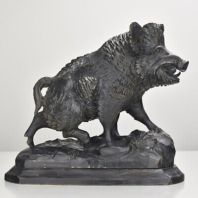 Antique Boar Figurine Carved Wood Brienz Black Forest