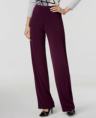 $205 Alfani Women Purple Mid-Rise Stretch-Fit Knit Wide-Leg Dress Pants Size XL