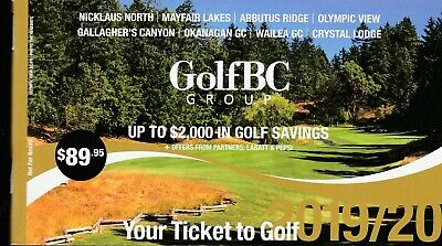 1 Golf BC Coupon Booklet - Expire June 2020 - $2000 in Golf Savings!