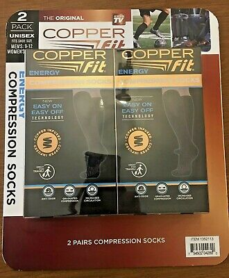 2 Pair Copper Fit Energy Compression Knee High Socks Easy ON, Easy Off Unisex